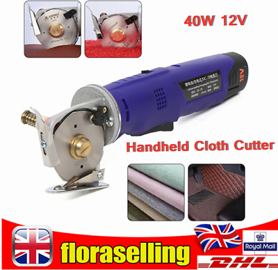 12V 40W Electric Handheld Cloth Cutter Rotary Round Cutting Machine With Charger • 63.02£