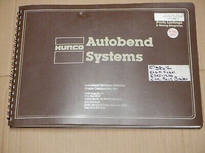 Hurco 5c Autobend Systems Press Brake Parts List & Wiring Diagrams • 60£