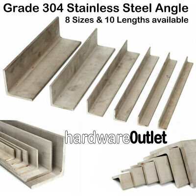 Stainless Steel ANGLE Iron 304 Grade- All Sizes Available See Variation Listing  • 4.95£