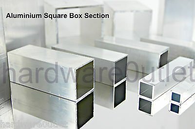 Aluminium SQUARE BOX Section Tube Pipe 10 Sizes Available & 7 Lengths Available • 13.75£