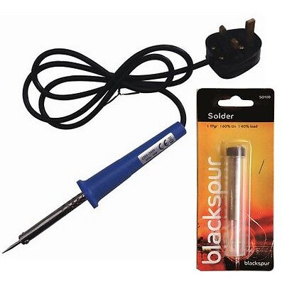 Solder Wire Or Electrical Soldering Iron 30w With Pointed Tip On Stand Holder • 8.95£