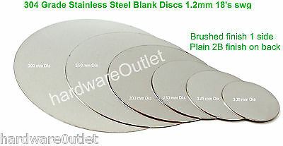 STAINLESS STEEL BLANK DISC 1.2mm Grade 304 Laser Cut Round Sheet Plate  • 3.30£