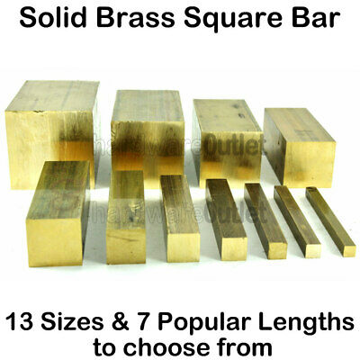 Solid BRASS SQUARE BAR Rod Plate Sheet - 13 Sizes Available - 7 Popular Lengths  • 8.91£