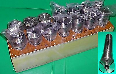 QUALITY Bridgeport Type R8 Taper Collet Set  Inch 14 Collets 1/16 - 7/8 In Stand • 85.20£
