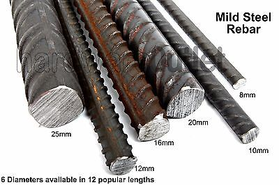 Mild Steel REBAR 6 Sizes Available & 12 Popular Lengths To Choose From • 8.40£