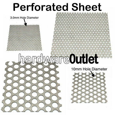 PERFORATED SHEET Metal  3mm / 10mm Ø Holes Aluminium Stainless Mild & GALV Steel • 12.05£