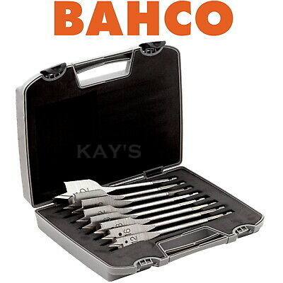 BAHCO 8 PIECE FLAT SPADE WOOD DRILL BIT SET IN STORAGE WALLET 13mm-38mm, 9529/S8 • 16.90£