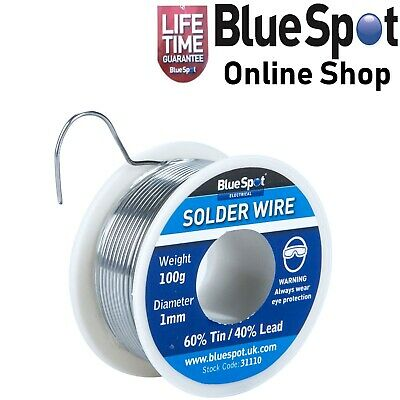 SOLDER WIRE FLUX COVERED 100 GRAM ROLL 60% TIN 40% LEAD 1mm DIA, BLUE SPOT 31110 • 6.39£