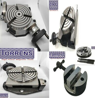 Rotary Table Horizontal Vertical Tilting 3 , 4 + Chucks + 80 & 100mm Round Vice • 90.01£