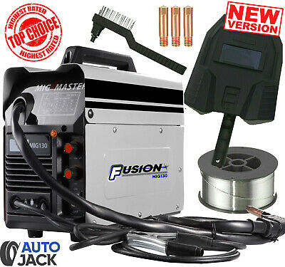 Autojack MIG 130 Amp Welder With Non Live Torch Auto Wire Feed Gasless Welding • 119.99£