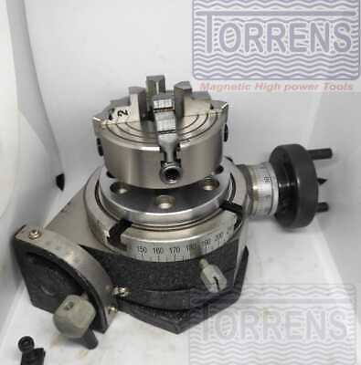 Rotary Table Tilting 4  100mm+4 Jaw 65mm Self Centering Chuck+Back-plate • 114.49£