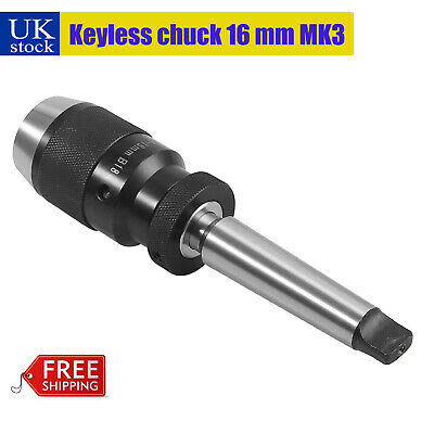 1-16mm Self Tighten Keyless Lathe Drill Wrench Chuck MT3-B18 Arbor For Lathe MK3 • 20.29£