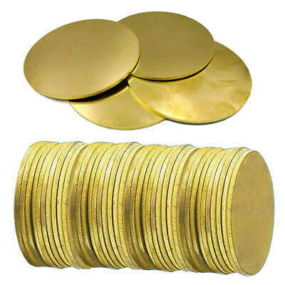 50-100mm OD H62 Brass Discs Round Sheet  Metal Solid Blanks 0.5 0.8 1- 3mm Thick • 7.73£