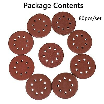 80PCS 40-400 Grit 8 Holes Sanding Sheets Sandpaper Disc Detail Palm Sander UK • 9.99£
