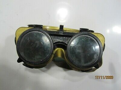 Vintage Hinged Front Welding Goggles. Steam Punk. Bs. Gold/blk. Used. • 5£