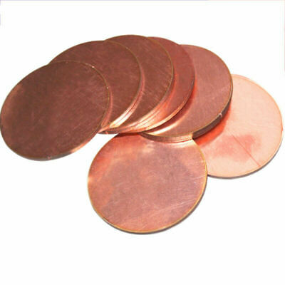 20-100mm OD 1mm Thick T2 Solid Pure Copper Discs Blanks Round Plate Metal Sheet • 6.10£