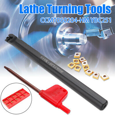 S10K-SCLCR06 Turning Tool Holder Lathe Boring Bar With 10X CCMT060204-HM Inserts • 10.29£