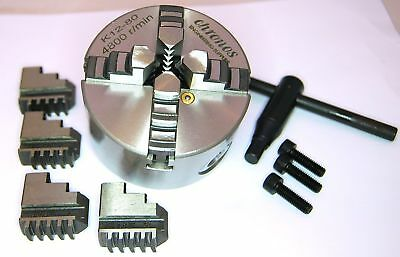 80 MM 4 Jaw Self Centering Lathe Chuck (Ref: K1280) From Chronos • 59.95£