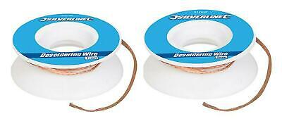 1mm / 2mm 1.5m Desoldering Wire Copper Braid, Soldered Joint Remover, Flux,Wick, • 2.19£