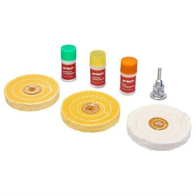 7pc Metal Cleaning Polishing Buffing Wheel Kit + Compound Blocks Fits Drill New • 9.99£