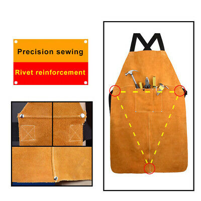 36*24in Welding Leather Bib Apron With Front Pocket For Carpenters Blacksmith  • 19.98£