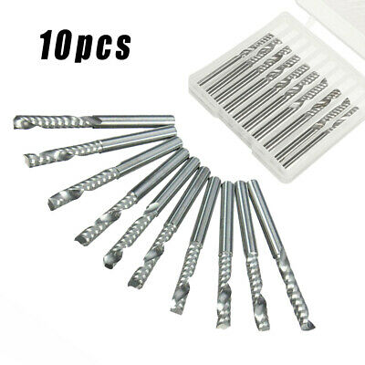 3.175mm Single Flute Spiral Carbide End Mill CNC Milling Cutter Router Bits Tool • 9.12£