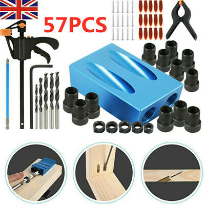 57pcs Silverline Pocket Hole Screw Jig Kit Woodworking Guide Drill Angle Locator • 13.99£