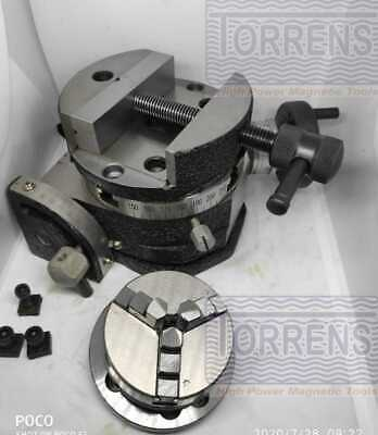 Rotary Table Tilting 4  100mm+65mm 3 Jaw Self Center Chuck+Back-plate+Round Vice • 169.06£