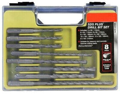 8pce Sds Plus Tct Drill Bit Set Tungsten Carbide Tip + Storage Carry Case • 9.19£