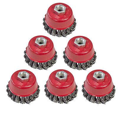 6 Pack Of 100mm 4  Twist Knot Wire Cup Brush Set Kit For M14 Angle Grinder • 16.64£