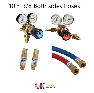 OXY ACETYLENE REGULATOR - FLASHBACK AND 10m HOSES KIT, NEXT DAY DELIVERY** • 94.96£