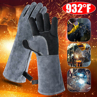 Heavy Duty Wood Burner 932°F Welding Gloves Heat Heating Resistant Leather Stove • 10.87£