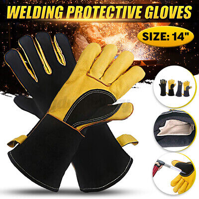 Welding Gloves Heat Resistant Heavy Duty Protective Leather Stoves Wood Burner • 8.74£