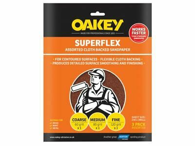 Oakey Superflex Cloth Backed Aluminium Oxide Sheets 230 X 280mm Assorted (3) • 10.24£