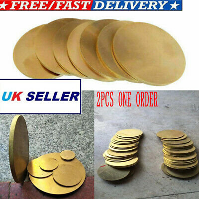 Brass Round Discs Plate Board Sheet H62 Thickness 0.5/1/2/3MM OD 50-100MM 2PCS • 8.61£