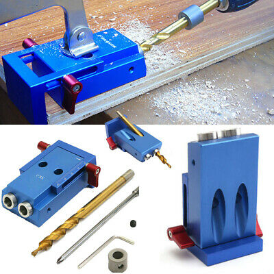 Pocket Hole Jig Kit System Wood Working Joinery Tool Set W/ Step Drill Bit UK • 24.39£