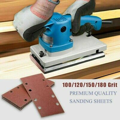 10* Punched Sanding Sheets 93 X 185mm Sandpaper Pads 8 Holes Hook And Loop Pack • 4.06£