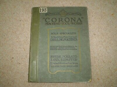 Vintage 1923 POLLARD CORONA DRILLING MACHINE Catalogue Leicester • 59.95£