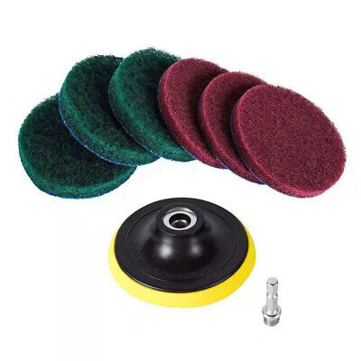 8pcs Set Scouring Pad 1/4  Hex Shank For Cleaning Surfaces Drill Polishing Cloth • 6.95£