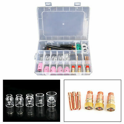 For WP-17/18/26,31pcs TIG Welding Torch Stubby Gas Lens #12 Pyrex Glass Cup Kit • 22.38£