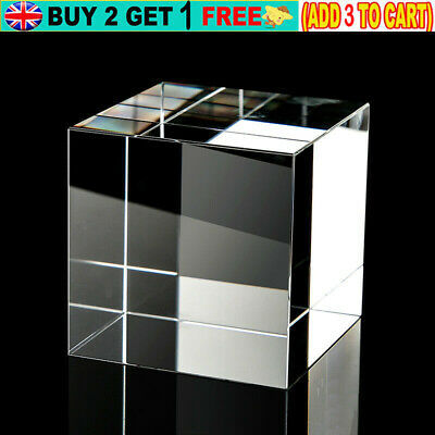 Clear Acrylic Cube Solid Display Case Block For Jewelry Ring Display Showcase • 10.49£
