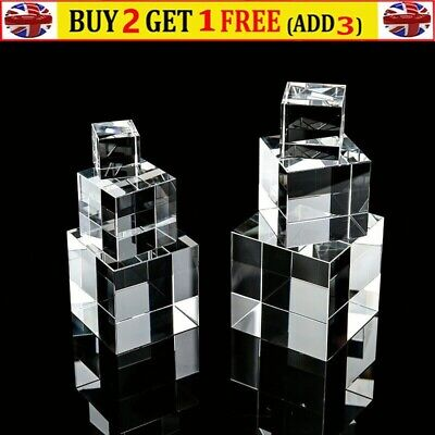 Clear Acrylic Cube Cuboid 3/4/5cm Home Shop Jewel Display Stand Holder Decor • 10.49£