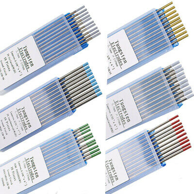 10pcs TIG Welding Tungsten Electrodes Blue/Gold/Green/Grey/Red/White 1.6/2.4mm • 10.57£