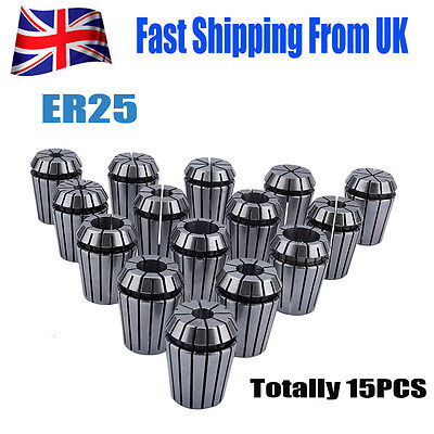 High Quality 15PCS ER25 2mm-16mm Spring Collet Set For CNC Milling Lathe UK Ship • 21.60£