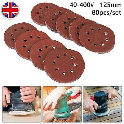80pcs 125mm Sanding Discs 40-400 Grits 8-Hole Sandpaper Orbital Sander Polishing • 9.99£