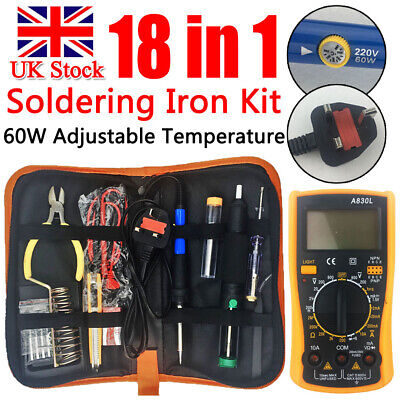 18-In-1 60W Soldering Iron Kit Electronics Welding Irons Tools Adjustable Temp • 19.34£