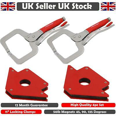 2pc 11  C-Clamps & 2pc 50lb Welding Magnetic Holders Magnet Clamp Mig Tools • 22.99£