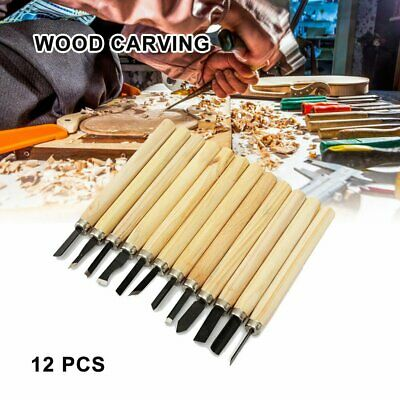 12Pcs/Set High Carbon Steel Wood Carving Chip Detail Chisel Woodworking Tools JL • 6.30£