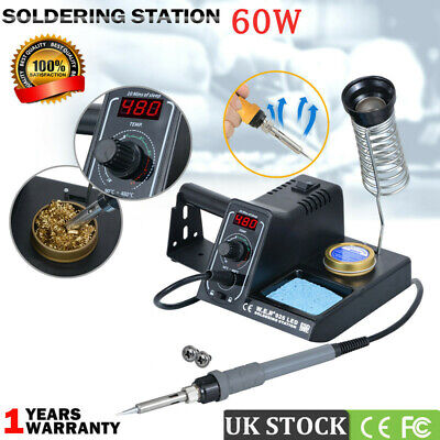 60W Digital Soldering Iron Station Rework Kit Variable Stand Temperature LED • 24.99£