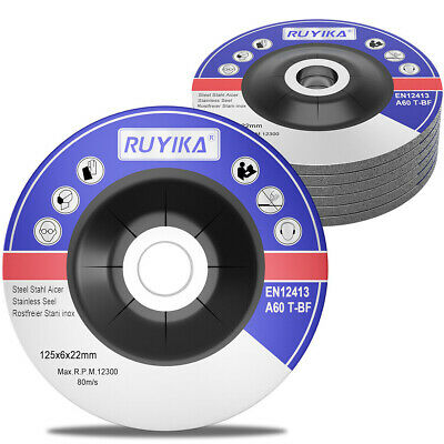 6Pcs RUYIKA Metal Grinding Discs 115mm 125mm X 6mm Disks Depressed Centre Angle • 8.99£